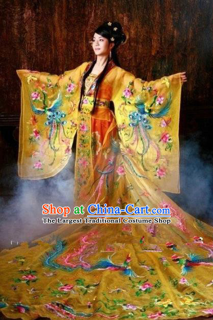 Chinese Ancient Queen Embroidered Costume Tang Dynasty Imperial Empress Trailing Hanfu Dress for Women