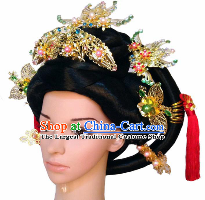 Chinese Ancient Imperial Consort Hair Accessories Beijing Opera Queen Hairpins and Wigs for Women