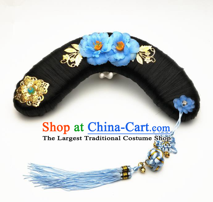 Chinese Ancient Qing Dynasty Princess Hair Accessories Palace Lady Hairpins and Wigs for Kids