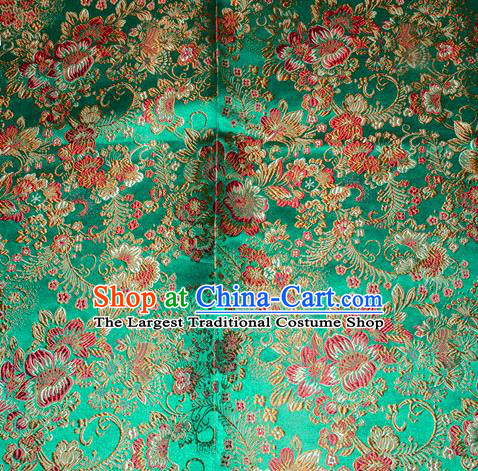 Chinese Traditional Silk Fabric Tang Suit Green Brocade Cheongsam Classical Red Pattern Cloth Material Drapery