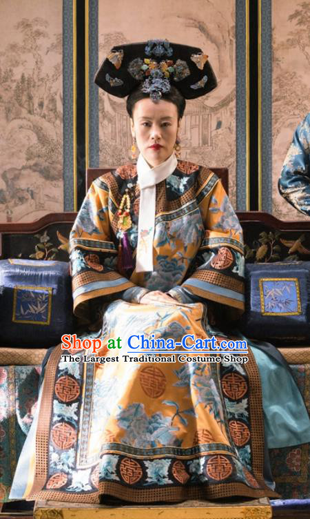 Ancient Ruyi Royal Love in the Palace Chinese Qing Dynasty Empress Dowager Embroidered Costumes and Headpiece Complete Set