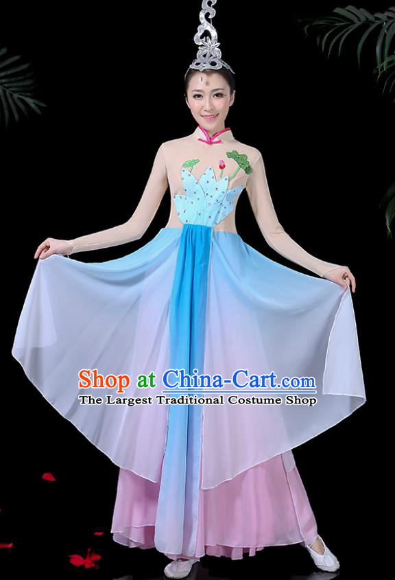 Chinese Classical Dance Lotus Dance Blue Dress Traditional Folk Dance Fan Dance Clothing for Women
