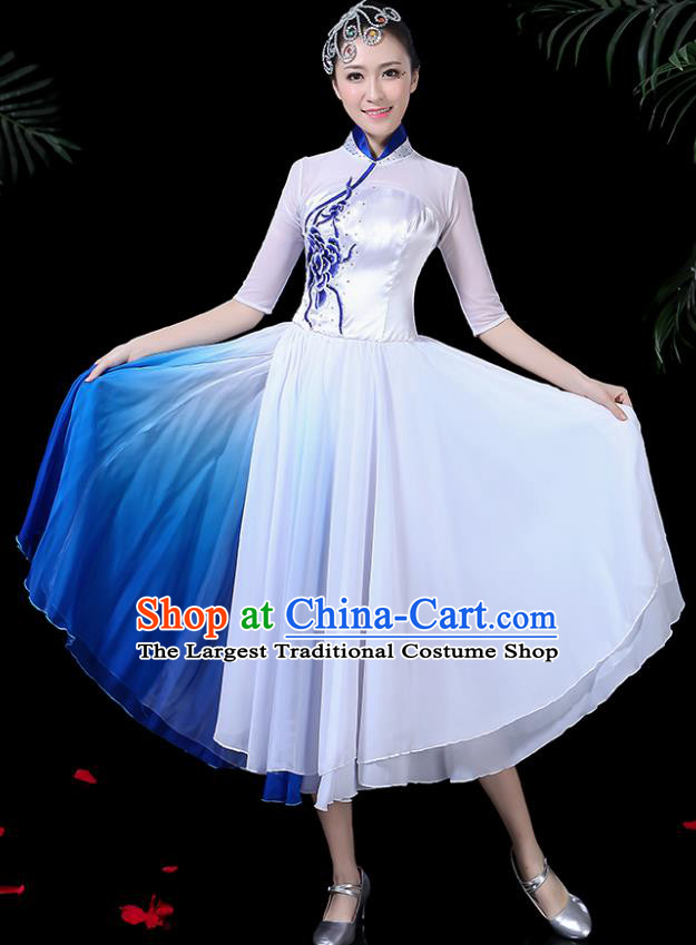 Traditional Fan Dance White Dress Chinese Classical Dance Umbrella Dance Costume for Women