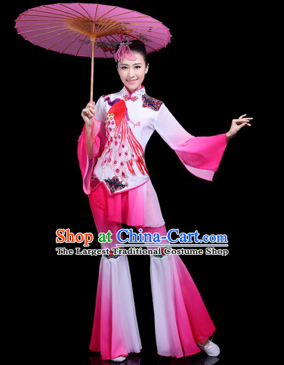Traditional Classical Dance Yangge Pink Clothing Chinese Folk Dance Umbrella Dance Costume for Women