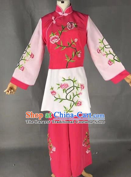 Chinese Traditional Beijing Opera Maidservants Embroidered Rosy Clothing Peking Opera Diva Costumes for Adults