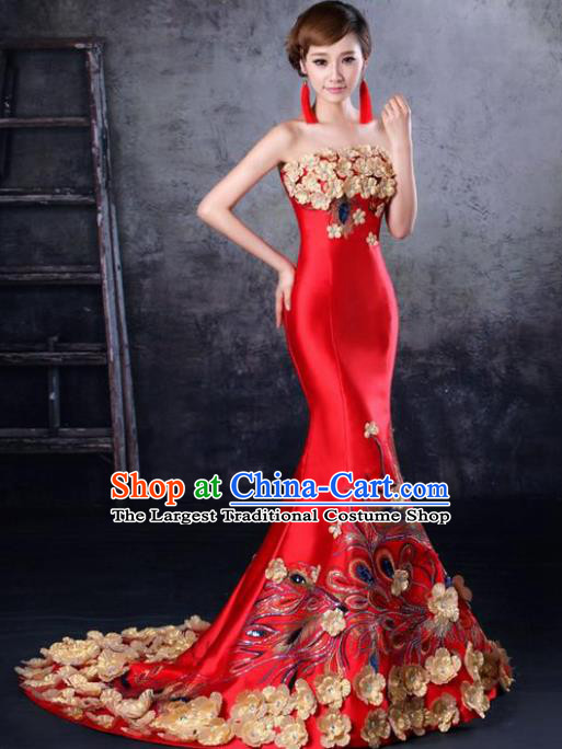Chinese Traditional Wedding Trailing Full Dress Classical Costume Elegant Red Cheongsam for Women