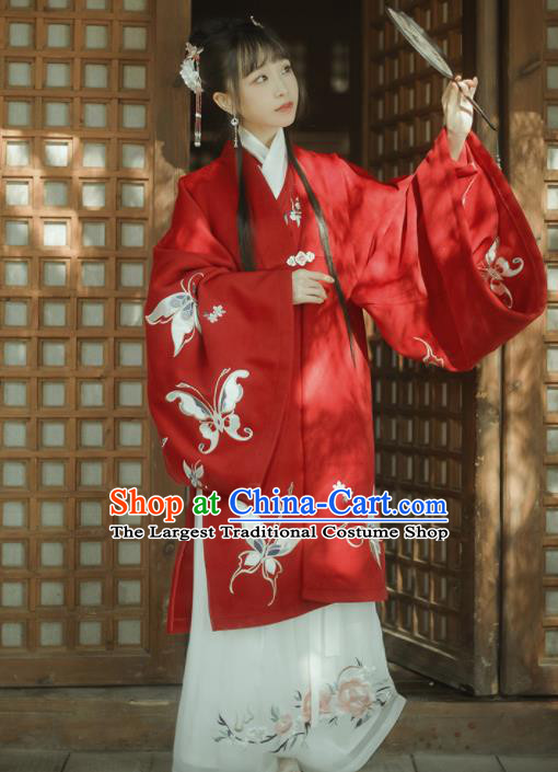Chinese Traditional Wedding Historical Costumes Ancient Ming Dynasty Princess Red Hanfu Dress for Women