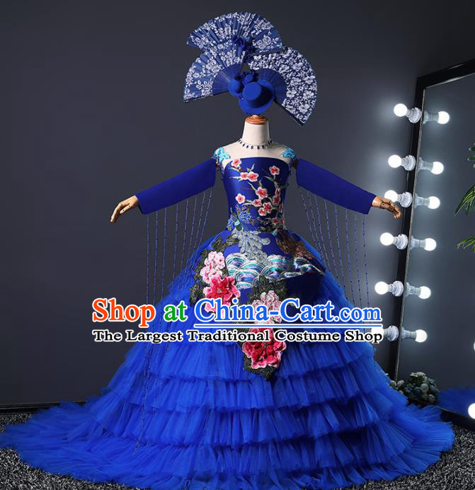 Children Modern Dance Costume Opening Dance Compere Catwalks Royalblue Veil Trailing Dress for Girls Kids