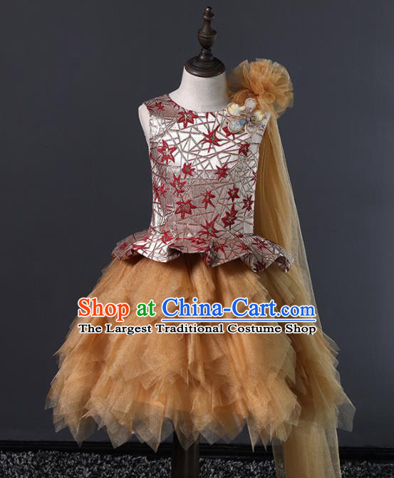 Children Modern Dance Costume Court Dance Compere Veil Bubble Full Dress for Girls Kids