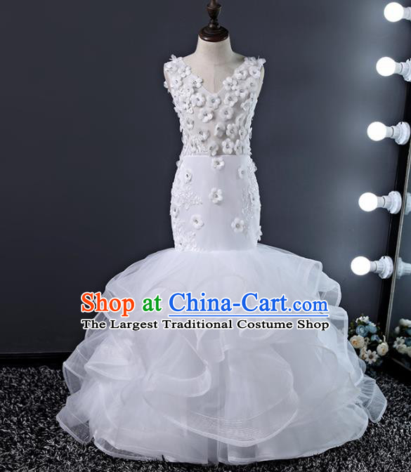 Children Modern Dance Costume Court Dance Compere White Veil Full Dress for Girls Kids