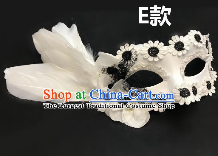 Top Halloween Cosplay Fancy Dress Ball White Feather Masks Brazilian Carnival Catwalks Face Mask for Women