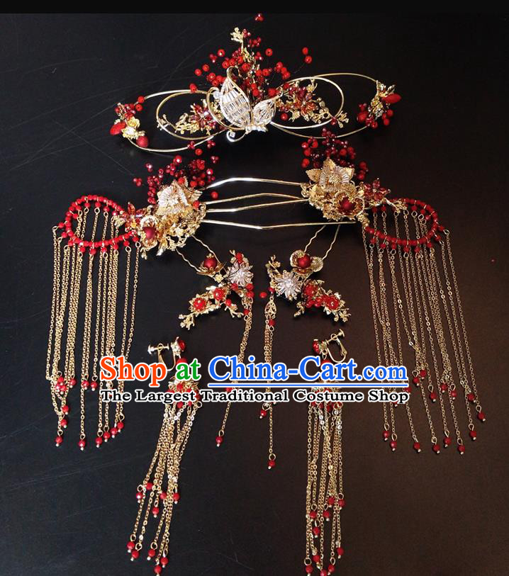 Top Chinese Traditional Wedding Hair Accessories Classical Red Beads Phoenix Coronet Hairpins Headdress for Women