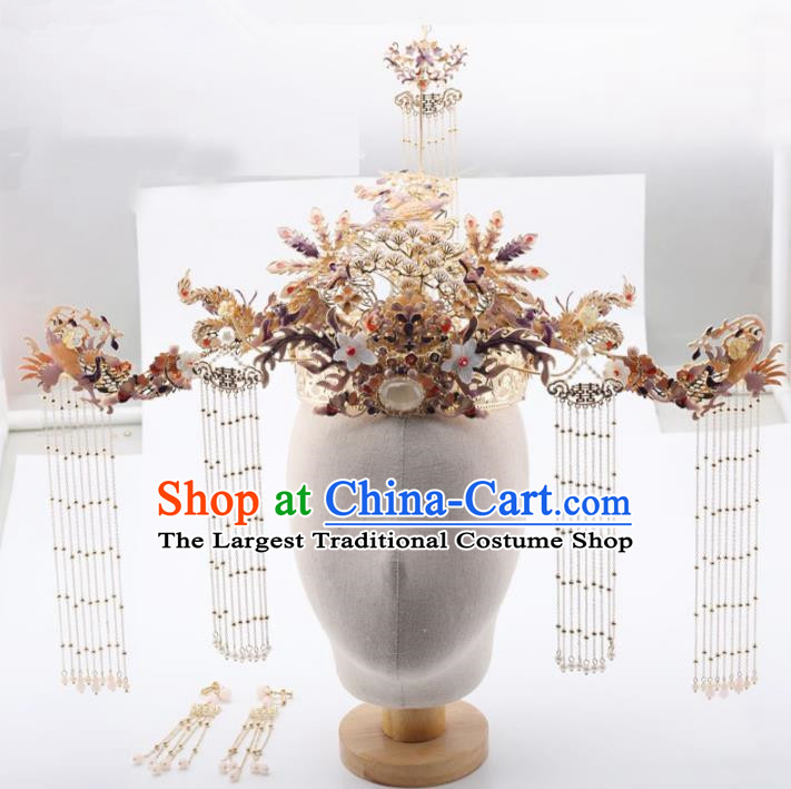 Top Chinese Traditional Hair Accessories Ancient Wedding Golden Phoenix Coronet Palace Hairpins Complete Set for Women