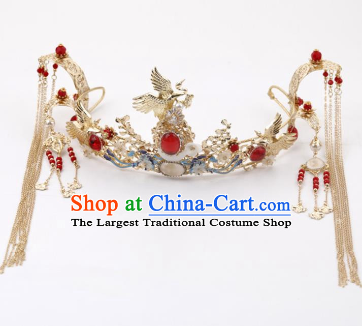 Top Chinese Traditional Wedding Hair Accessories Ancient Cranes Jewel Hair Combs Hairpins Complete Set for Women