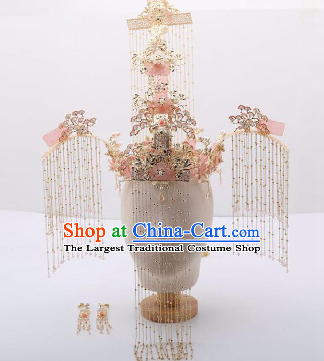 Top Chinese Traditional Wedding Luxury Hair Accessories Ancient Tassel Phoenix Coronet Hairpins Complete Set for Women