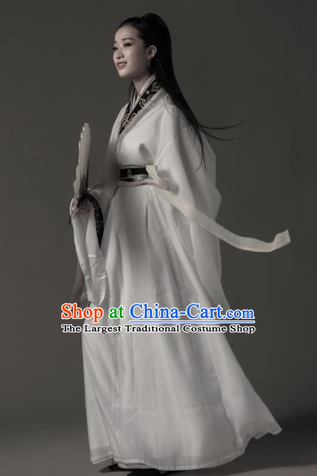 Chinese Ancient Female Swordsman Hanfu Dress Traditional Jin Dynasty Nobility Lady Embroidered Replica Costumes for Women
