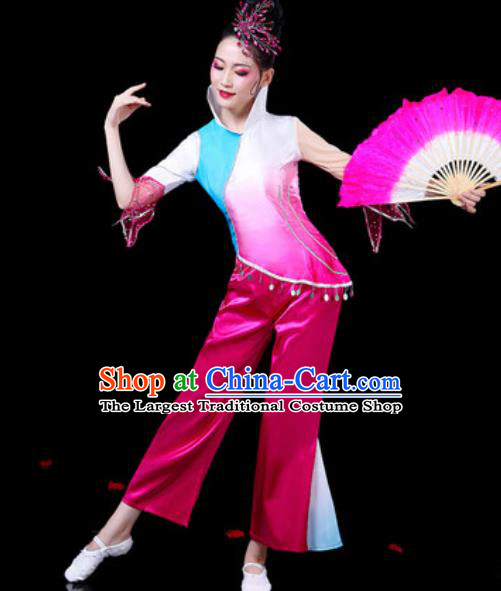 Chinese Traditional Folk Dance Costumes Fan Dance Yangko Group Dance Rosy Clothing for Women