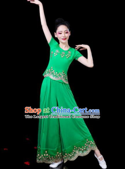 Chinese Traditional Folk Dance Costumes Fan Dance Yangko Group Dance Green Clothing for Women