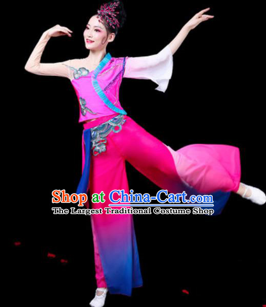 Chinese Traditional Folk Dance Yangko Dance Costumes Fan Dance Drum Dance Rosy Clothing for Women