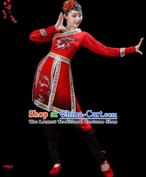 Traditional Chinese Folk Dance Costumes Fan Dance Waist Drum Dance Yangko Red Clothing for Women