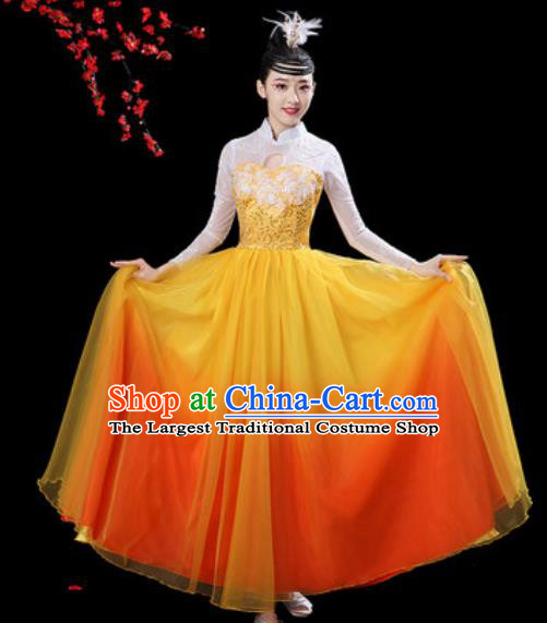 Chinese Classical Dance Chorus Orange Dress Traditional Umbrella Dance Fan Dance Costumes for Women