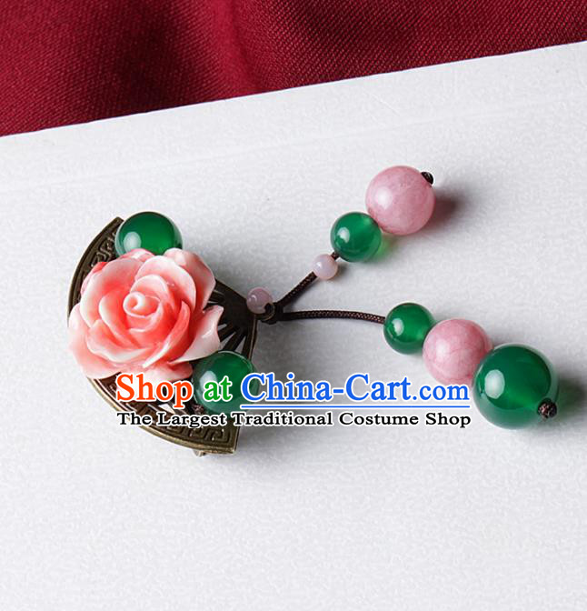 Chinese Traditional Jewelry Accessories National Hanfu Pink Rose Brooch for Women