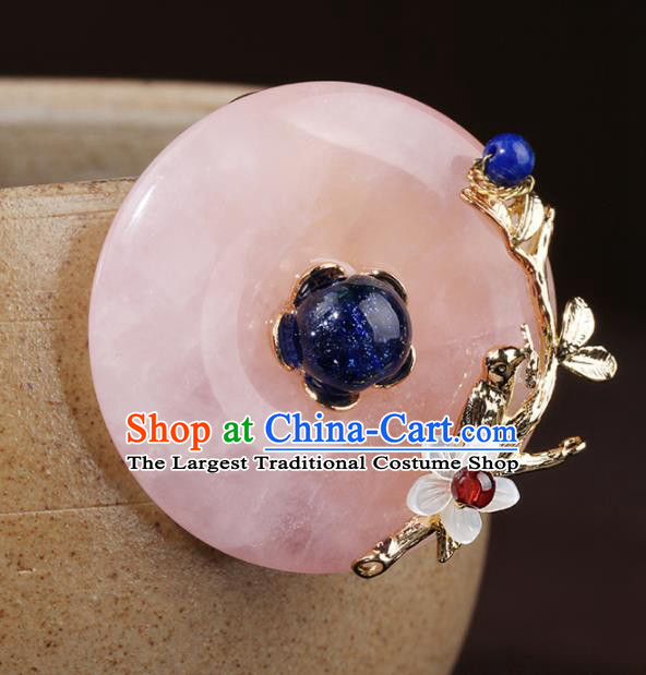 Chinese Traditional Jewelry Accessories National Hanfu Rose Chalcedony Brooch for Women