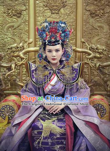 Chinese Traditional Ming Dynasty Empress Hanfu Dress Ancient Queen Embroidered Replica Costumes and Headpiece for Women