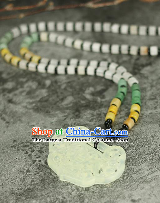 Handmade Chinese Traditional Jade Necklace Traditional Classical Hanfu Necklet Jewelry Accessories for Women