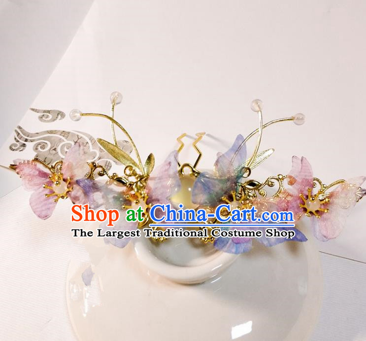 Handmade Chinese Traditional Silk Butterfly Hairpins Ancient Classical Hanfu Hair Accessories for Women