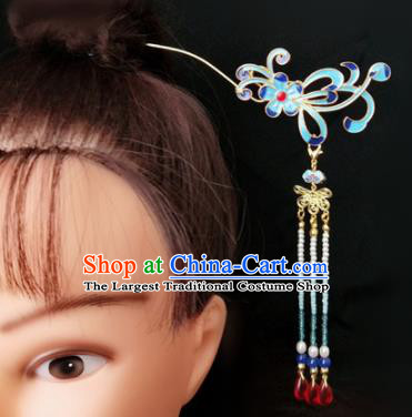 Chinese Ancient Traditional Hanfu Tassel Step Shake Blueing Hairpins Handmade Classical Hair Accessories for Women