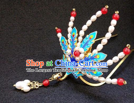 Chinese Ancient Traditional Pearls Phoenix Tassel Hairpins Handmade Classical Hair Accessories for Women