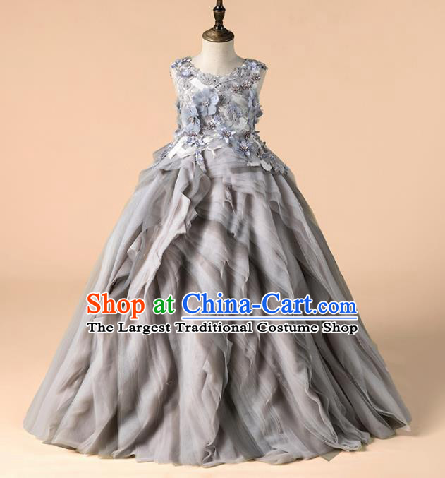 Children Catwalks Costume Girls Catwalks Compere Modern Dance Grey Veil Full Dress for Kids