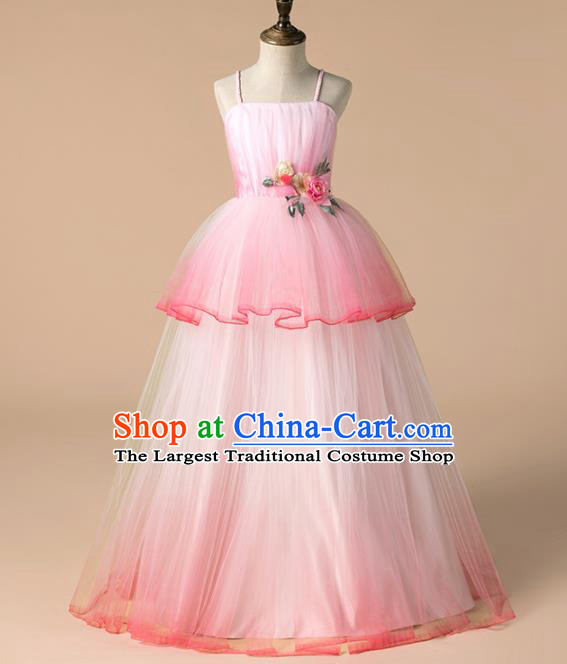 Children Catwalks Costume Girls Catwalks Compere Modern Dance Pink Veil Full Dress for Kids