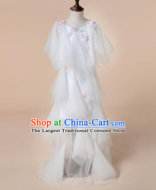 Children Princess Catwalks Costume Girls Compere Modern Dance White Veil Full Dress for Kids