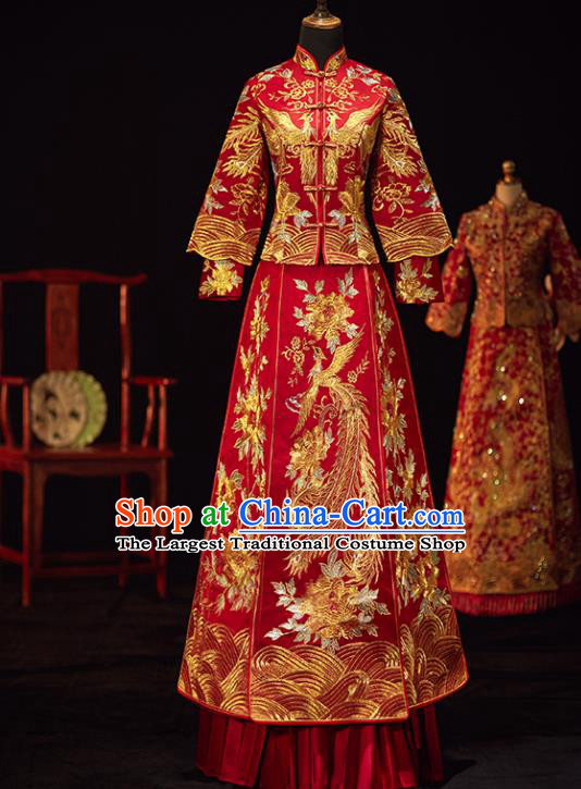 Chinese Traditional Wedding Costumes Ancient Bride Embroidered Phoenix Peony Xiuhe Suits Red Full Dress for Women