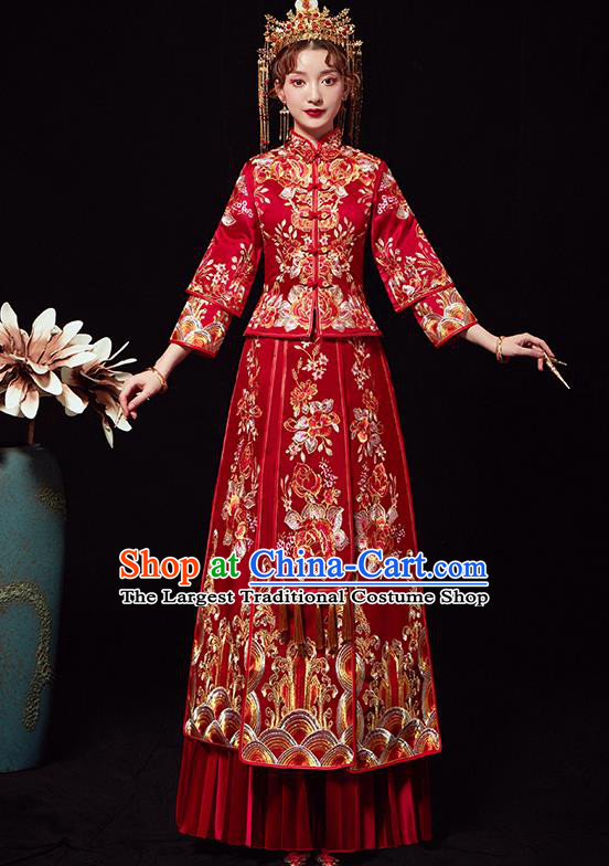 Chinese Traditional Wedding Costumes Ancient Bride Embroidered Peony Red Xiuhe Suits Full Dress for Women