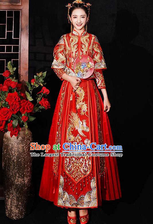 Chinese Traditional Wedding Costumes Embroidered Phoenix Xiuhe Suits Ancient Bride Red Full Dress for Women