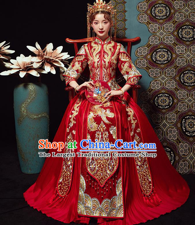 Chinese Traditional Wedding Costumes Bride Embroidered Xiuhe Suits Ancient Red Full Dress for Women