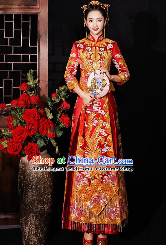 Chinese Traditional Wedding Costumes Bride Embroidered Phoenix Peony Red Xiuhe Suits Ancient Full Dress for Women