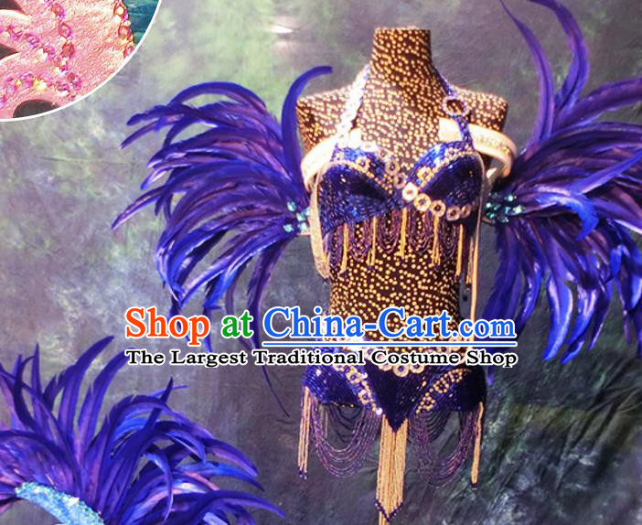 Halloween Cosplay Stage Show Props Accessories Brazilian Carnival Parade Purple Feather Wings for Women