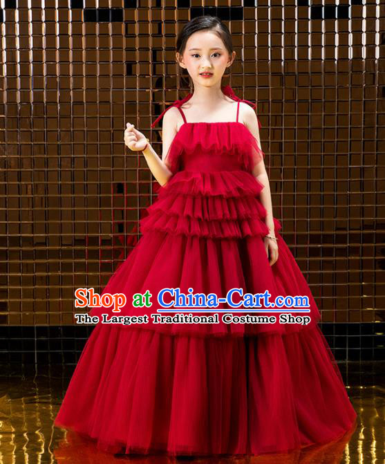 Children Catwalks Costume Stage Performance Compere Modern Dance Red Veil Full Dress for Girls Kids