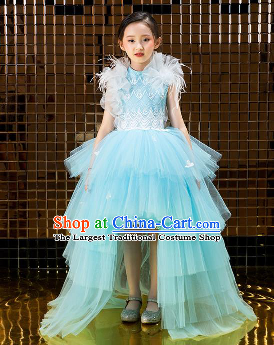 Children Catwalks Costume Stage Performance Compere Modern Dance Blue Veil Trailing Full Dress for Girls Kids