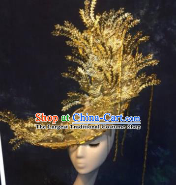 Halloween Cosplay Deluxe Hair Accessories Chinese Traditional Catwalks Golden Hat Headwear for Women
