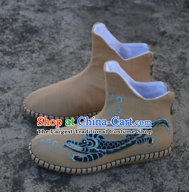 Chinese Traditional Boots Ancient Swordsman Shoes Embroidered Crocodile Khaki Shoes for Men