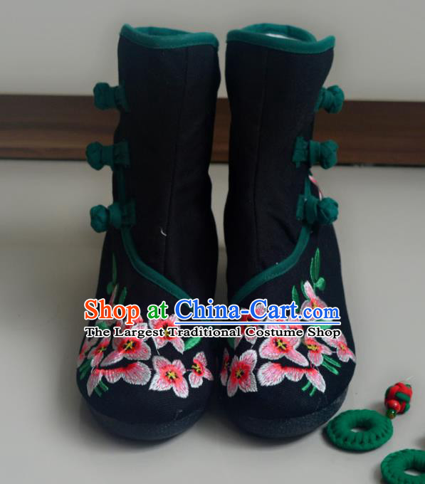 Chinese Traditional Hanfu Boots Ancient Shoes Embroidered Black Shoes for Women