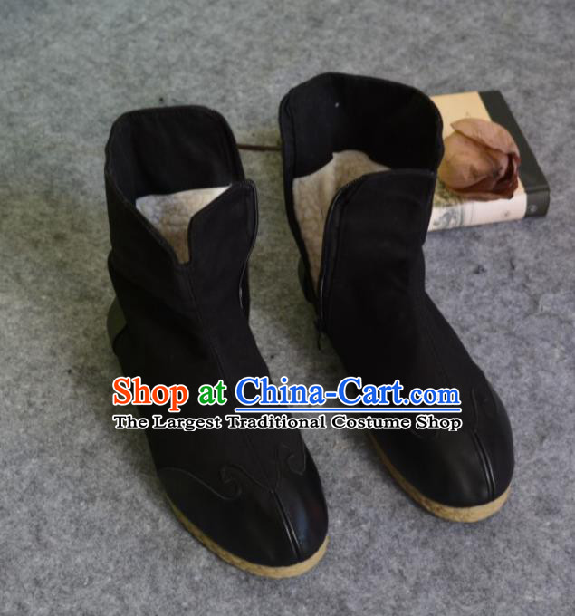 Chinese Traditional Boots Ancient Swordsman Shoes Embroidered Black Shoes for Men