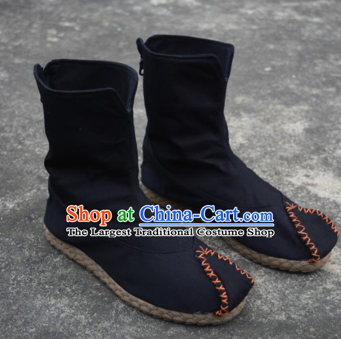 Chinese Traditional Black Boots Ancient Swordsman Shoes Embroidered Shoes for Men