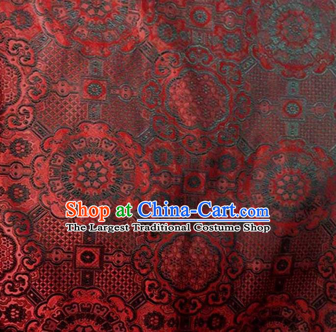 Asian Chinese Tang Suit Material Traditional Pattern Design Red Brocade Silk Fabric