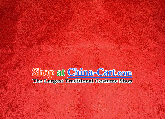Asian Chinese Tang Suit Satin Material Traditional Grape Pattern Design Red Brocade Silk Fabric